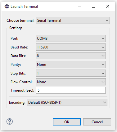 Setting up a terminal window for the serial port in Eclipse